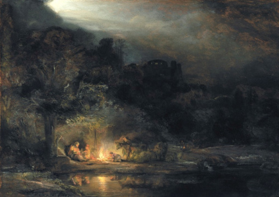 Rembrandt, Landscape with the Rest on the Flight into Egypt.